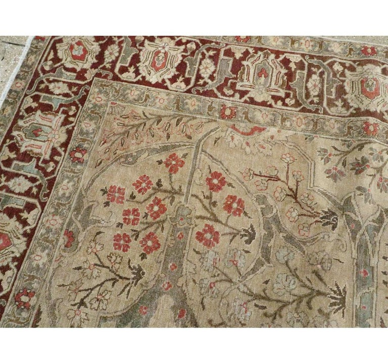 Early 20th Century Persian Tabriz Small Room Size Carpet in Maroon and Brown For Sale 1