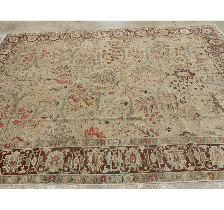 Early 20th Century Persian Tabriz Small Room Size Carpet in Maroon and Brown For Sale 2