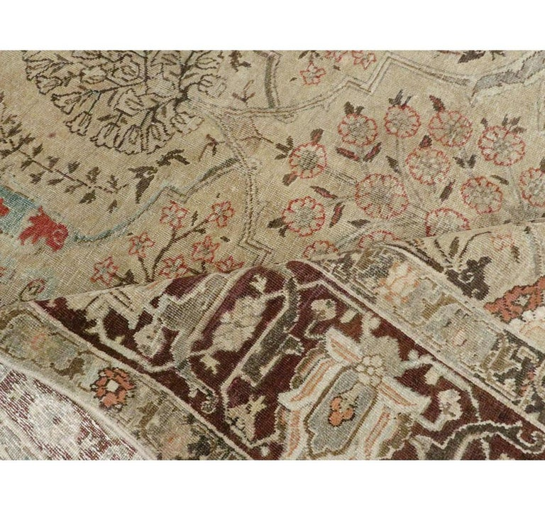 Early 20th Century Persian Tabriz Small Room Size Carpet in Maroon and Brown For Sale 3