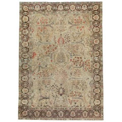 Early 20th Century Persian Tabriz Small Room Size Carpet in Maroon and Brown