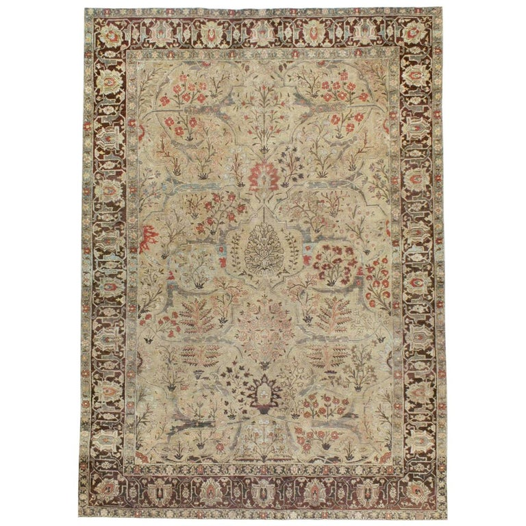 Early 20th Century Persian Tabriz Small Room Size Carpet in Maroon and Brown For Sale