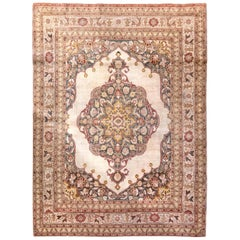 Early 20th Century Persian Tabriz Yellow, Red, Blue and White Handwoven Wool Rug