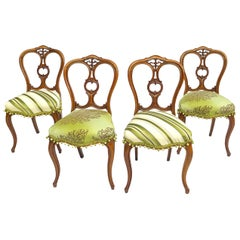 Early 20th Century Petite Victorian Style Elegantly Sculpted Balloon Back Chairs