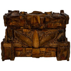 Early 20th Century Petrified Wood Folk Art Box