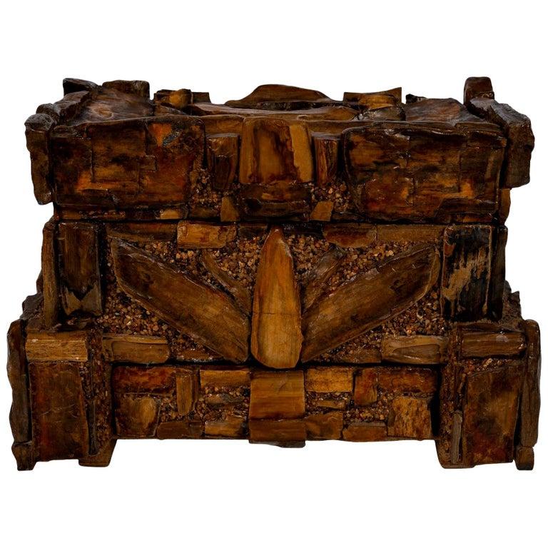 Early 20th Century Petrified Wood Folk Art Box For Sale