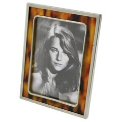 Early 20th Century Picture Photo Frame Tortoiseshell Celluloid and Chrome