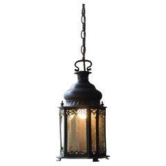 Early 20th Century Pierced & Pressed Copper Sacred Heart Catholic Lantern