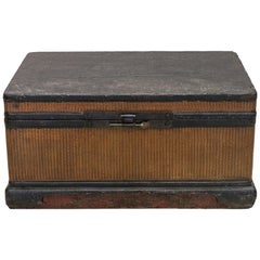 Early 20th Century Pinewood Chest with a Rattan-Weaved Exterior