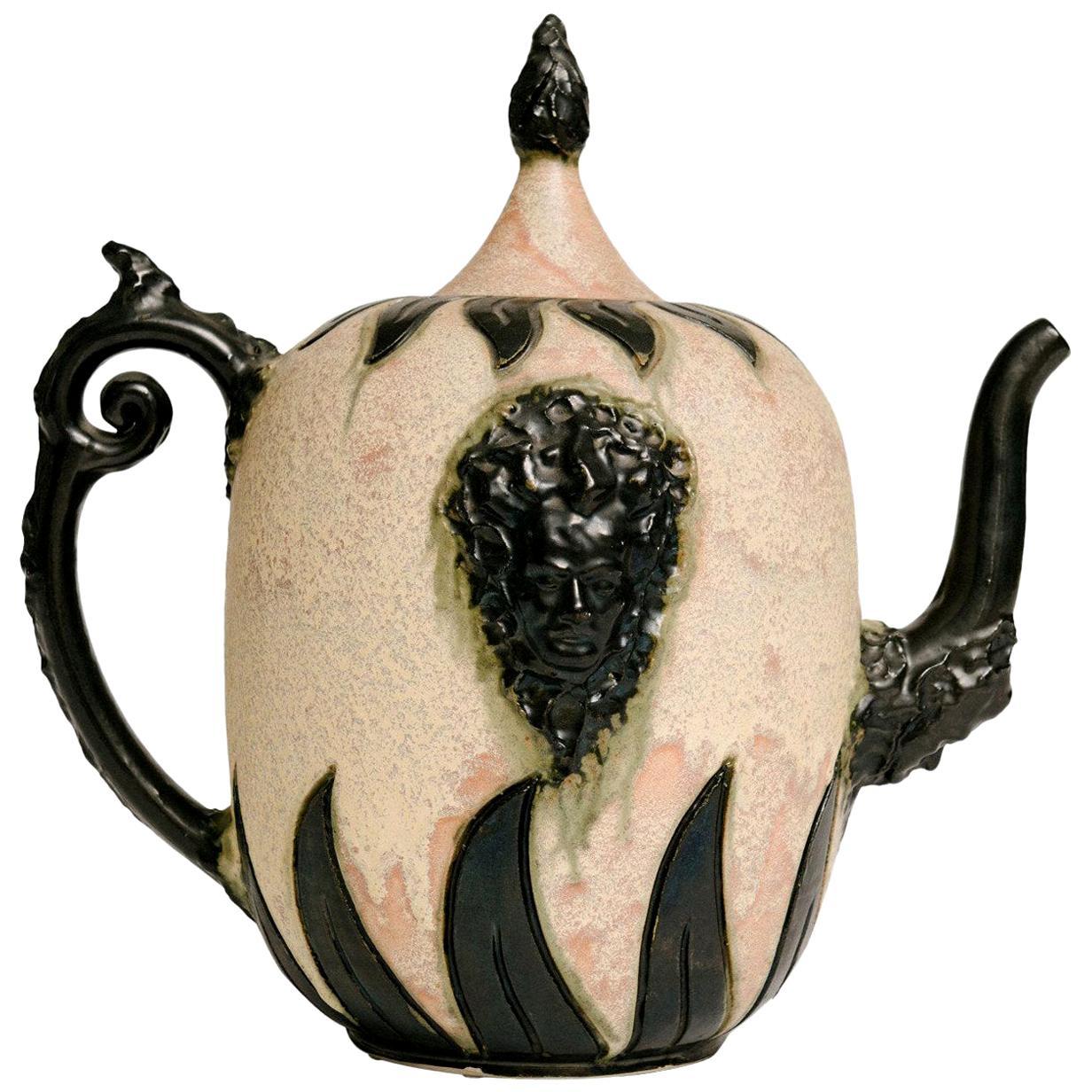 Early 20th Century Pink S. Hublet Art Pottery Tea Pot