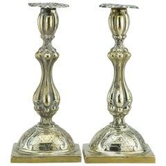 Early 20th Century Polish Brass Shabbat Candelsticks