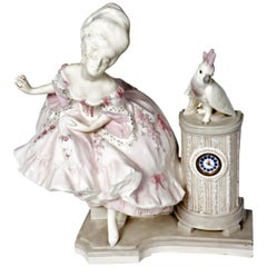 Early 20th Century Porcelain Figural Clock Lady and Cockatoo