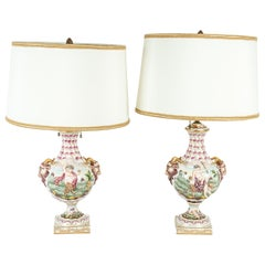 Early 20th Century Porcelain Pair of Table Lamp