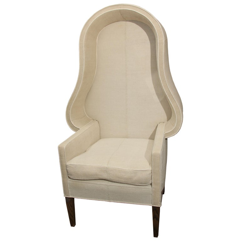 Early 20th Century Porters Chair in Antique Homespun Linen For Sale