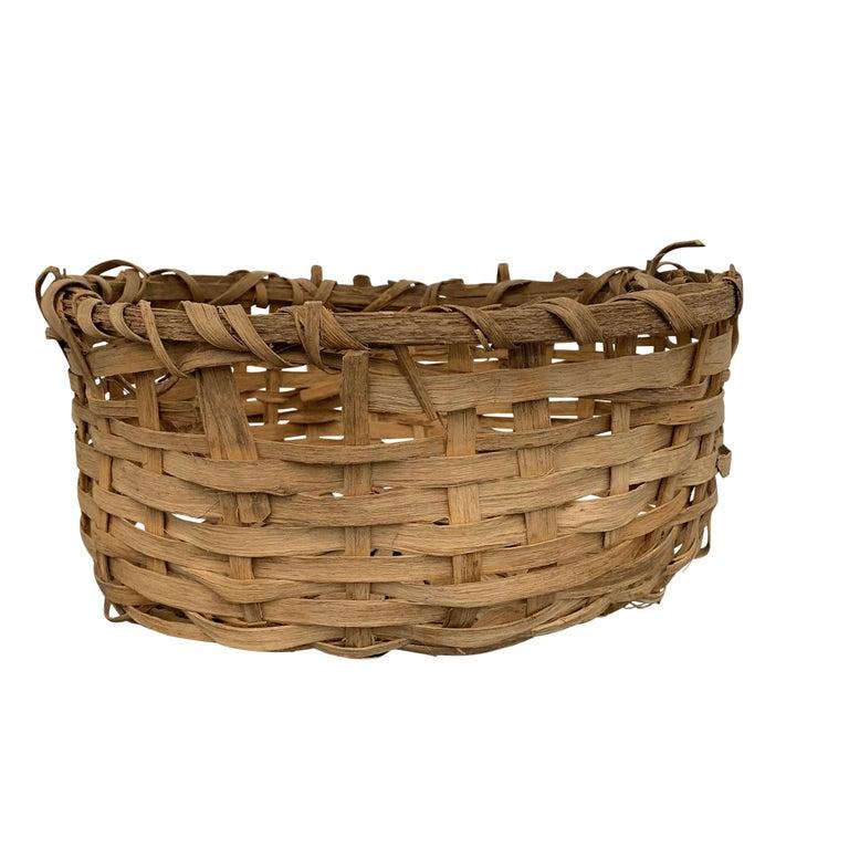 Rustic Early 20th Century Primitive Splint Basket For Sale