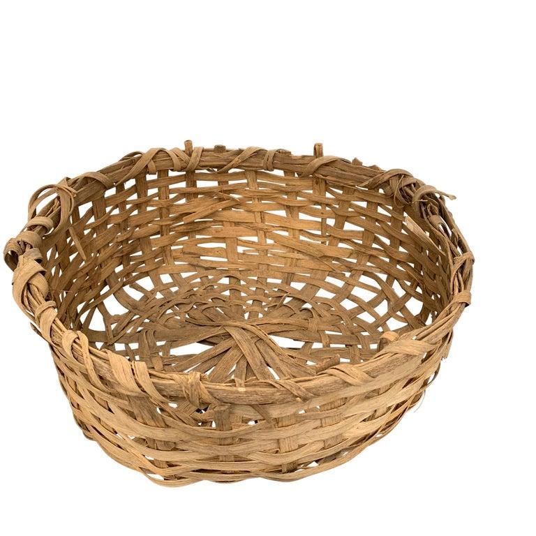 Bulgarian Early 20th Century Primitive Splint Basket For Sale
