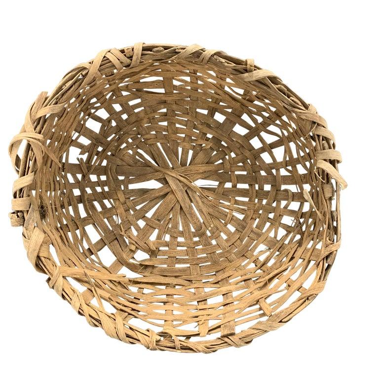 Hand-Woven Early 20th Century Primitive Splint Basket For Sale