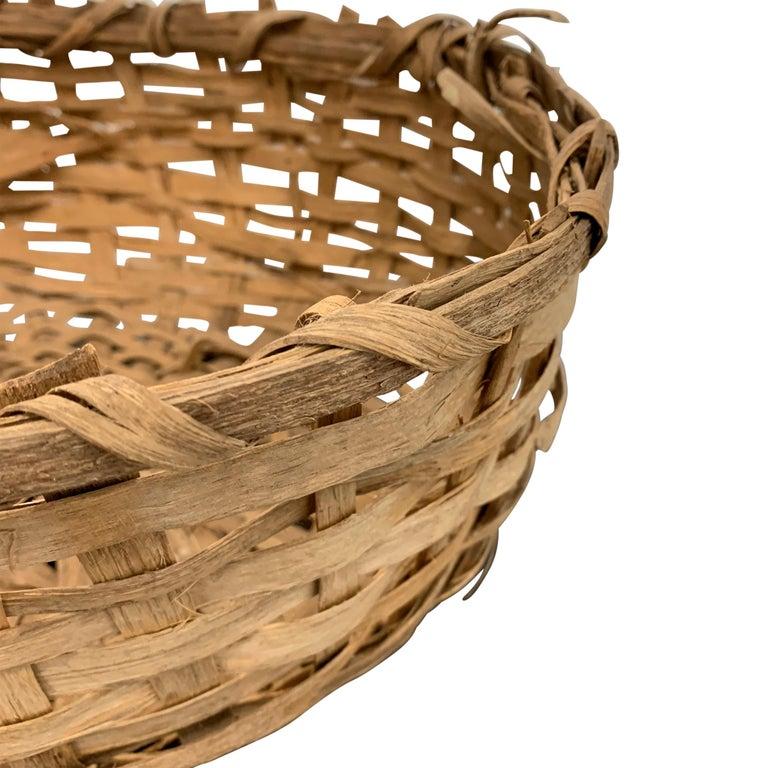 Wood Early 20th Century Primitive Splint Basket For Sale