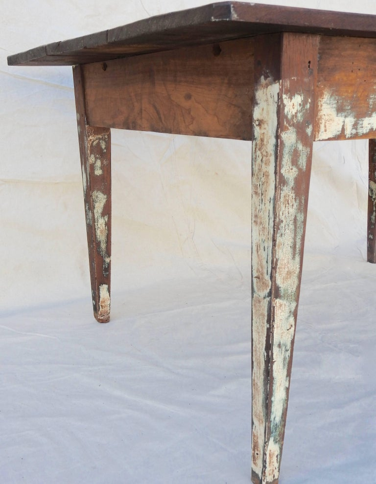 Early 20th Century Primitive Walnut Farm Table For Sale 7