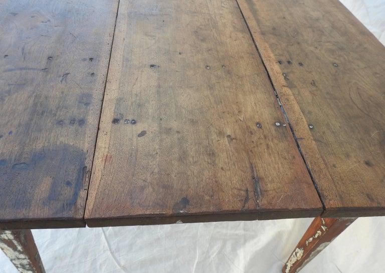 Early 20th Century Primitive Walnut Farm Table For Sale 11
