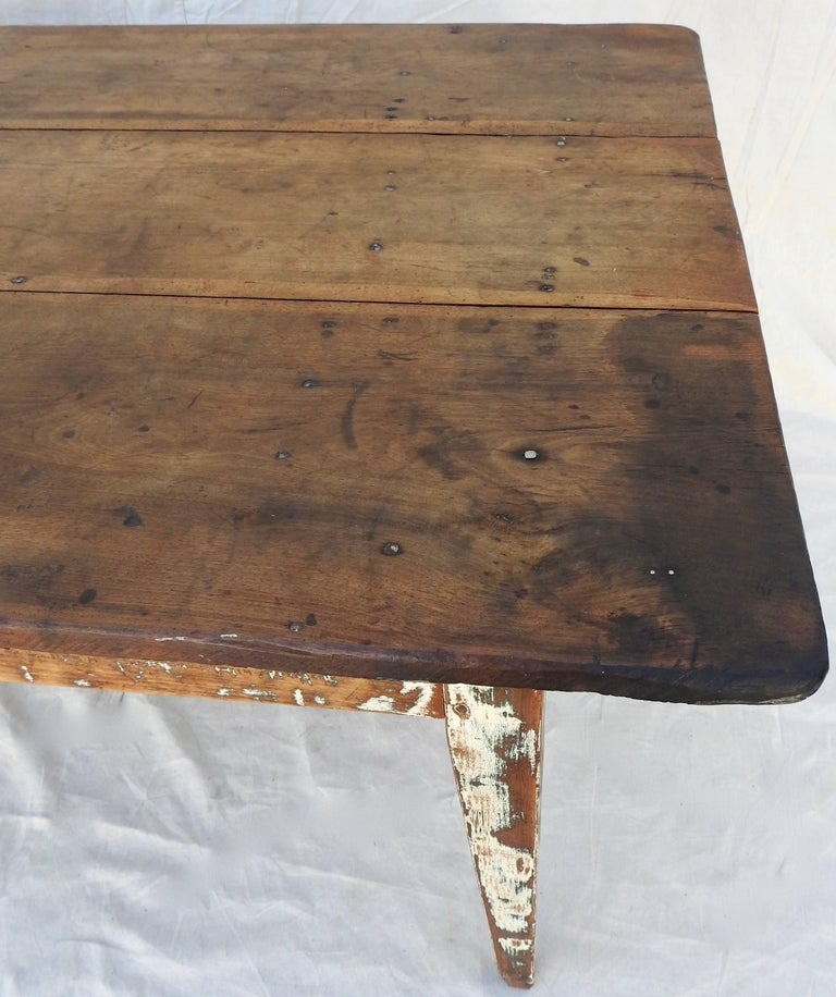 French Early 20th Century Primitive Walnut Farm Table For Sale