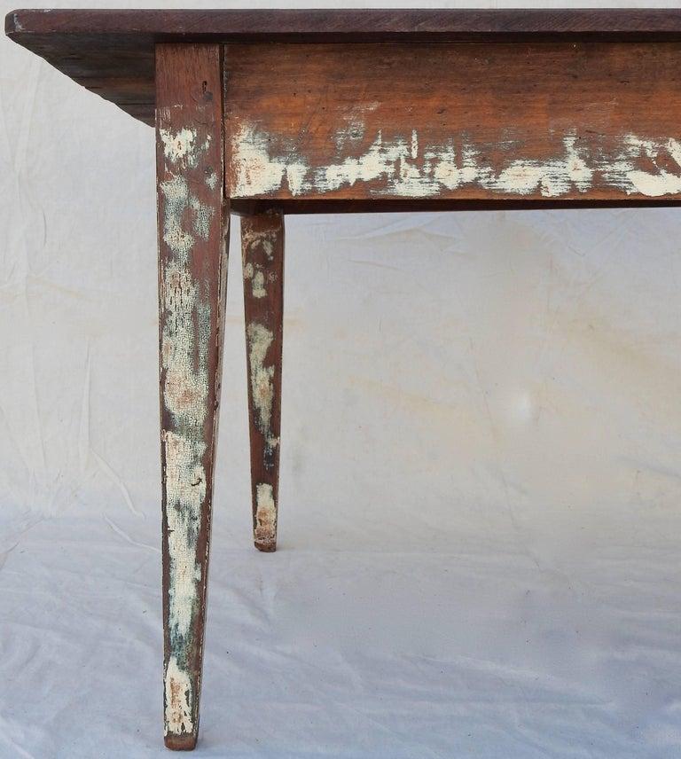 Early 20th Century Primitive Walnut Farm Table For Sale 3