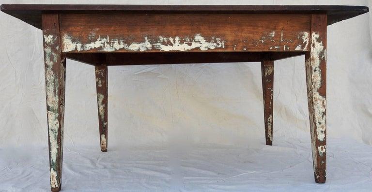 Early 20th Century Primitive Walnut Farm Table For Sale 4