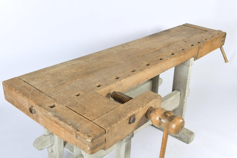 Beech Early 20th Century Primitive Workbench For Sale