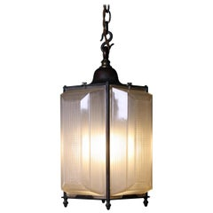 Early 20th Century Prismatic Glass and Bronze Holophane Lantern Light