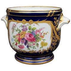 Early 20th Century Probably French Limoges Cobalt Blue & Gilt Porcelain Cachepot