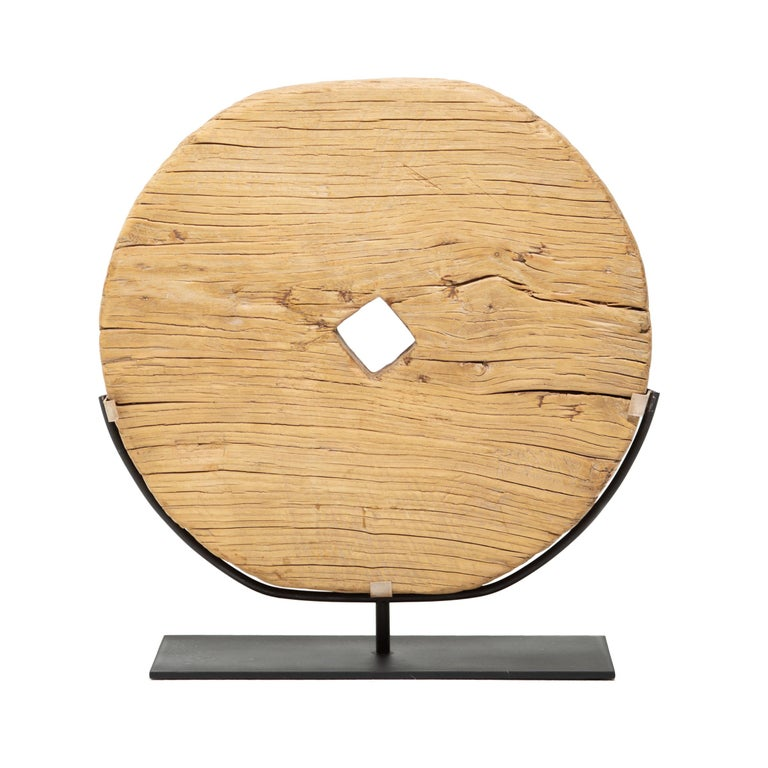Qing Early 20th Century Provincial Chinese Disc Wheel For Sale