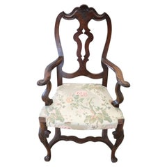 Early 20th Century Queen Anne Style Carved Walnut Armchair