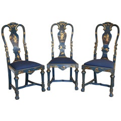 Early 20th Century Queen Anne Style Chinoiserie Chairs