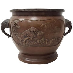 Early 20th Century Raised Relief Chinese Bronze Planter, circa 1920s