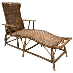 Early 20th Century Rattan and Bamboo Folding Chaise Lounge with Adjustable Back