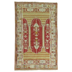 Early 20th Century Red Field Ivory Border Column Scroll Turkish Prayer Rug