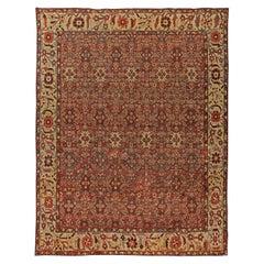 Early 20th Century Red, Indigo & Ivory Persian Sultanabad Handmade Wool Rug