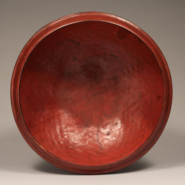 Tribal Early 20th Century Red Lacquered Offering Bowl, Burma For Sale