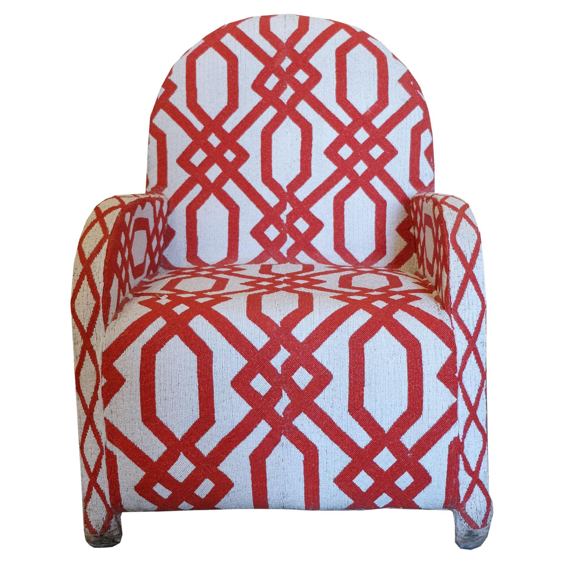 Early 20th Century Red & White Hand Beaded African Ceremony Chair