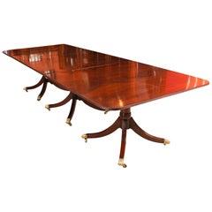 Early 20th Century Regency Revival Mahogany 3 Pillar Dining Table