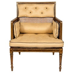 Late Regency Faux Painted Rosewood and Parcel Gilt Caned Chair