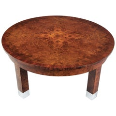 Early 20th Century Restored Art Deco Walnut Low and Wide Coffee Table, 1920s