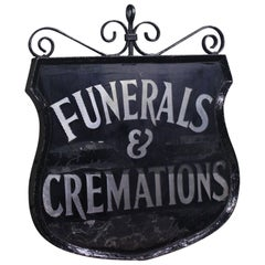 Early 20th Century Reverse Painted Funeral & Cremations Double Sided Trade Sign