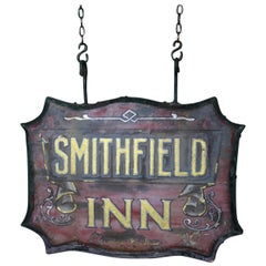 Early 20th Century Reverse Painted Glass Tavern Pub Sign Smithfield Inn