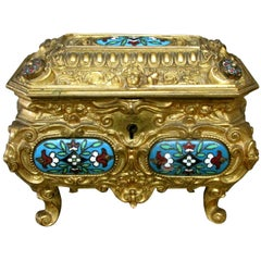 Early 20th Century Rococo Revival Gilt Bronze & Enamel Jewellery Casket