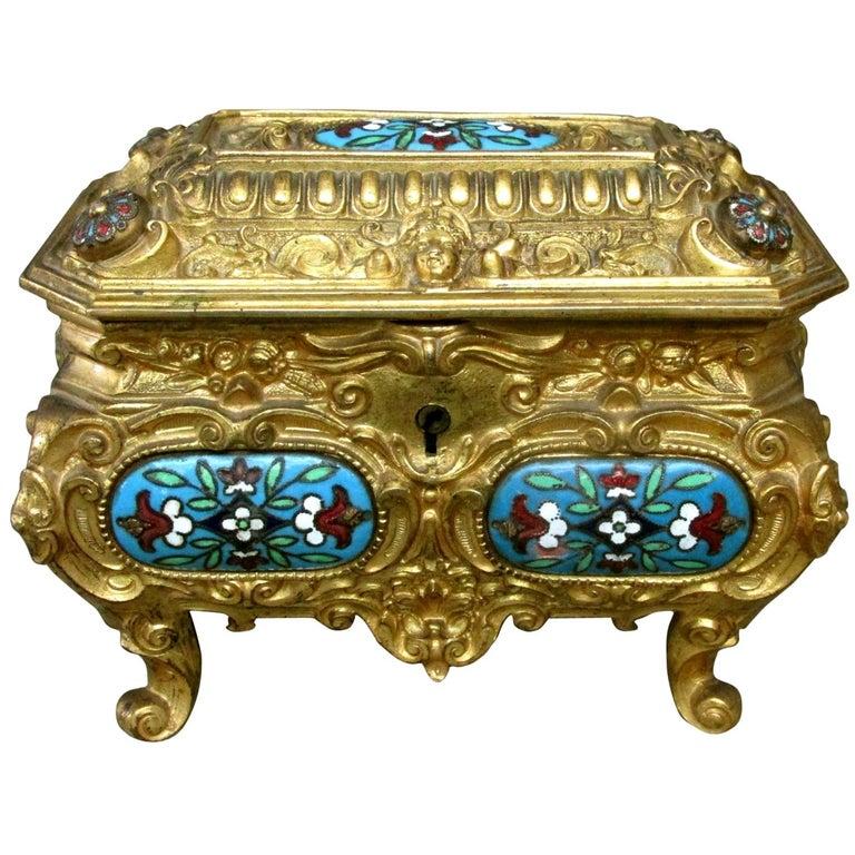 Early 20th Century Rococo Revival Gilt Bronze & Enamel Jewellery Casket For Sale