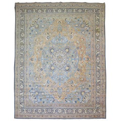 Early 20th Century Room Antique Persian Tabriz Rug with Blue and Orange Accents