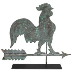Early 20th Century Rooster Weather Vane with Custom Iron Stand
