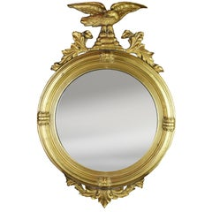 Early 20th Century Round Federal Mirror with Convex Glass