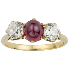 Early 20th Century Ruby and Diamond Three-Stone Ring