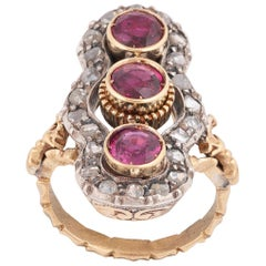 Early 20th Century Ruby Three-Stone Ring, circa 1900